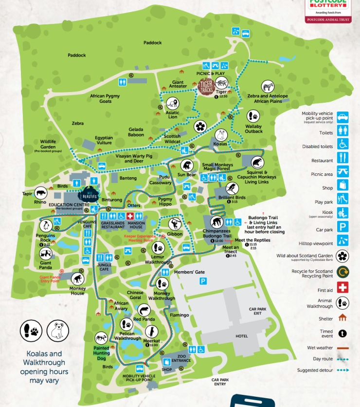 Edinburgh Zoo Park Map JPEG